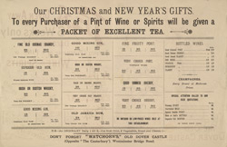 Advert for Old Dover Castle Tea, reverse side